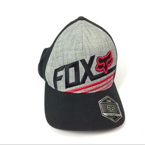 Fox Accessories - Fox Flexfit Baseball Hat Gray Red L